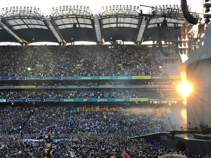 U2 The Joshua Tree Croke Park Dublin Audience in the Sunset. I am somewhere in that Crowd.