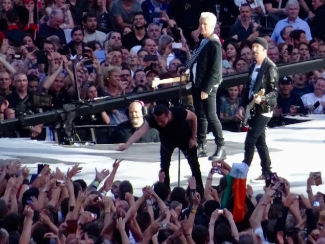 Larry giving drumstick U2 Brussels August 1 2017