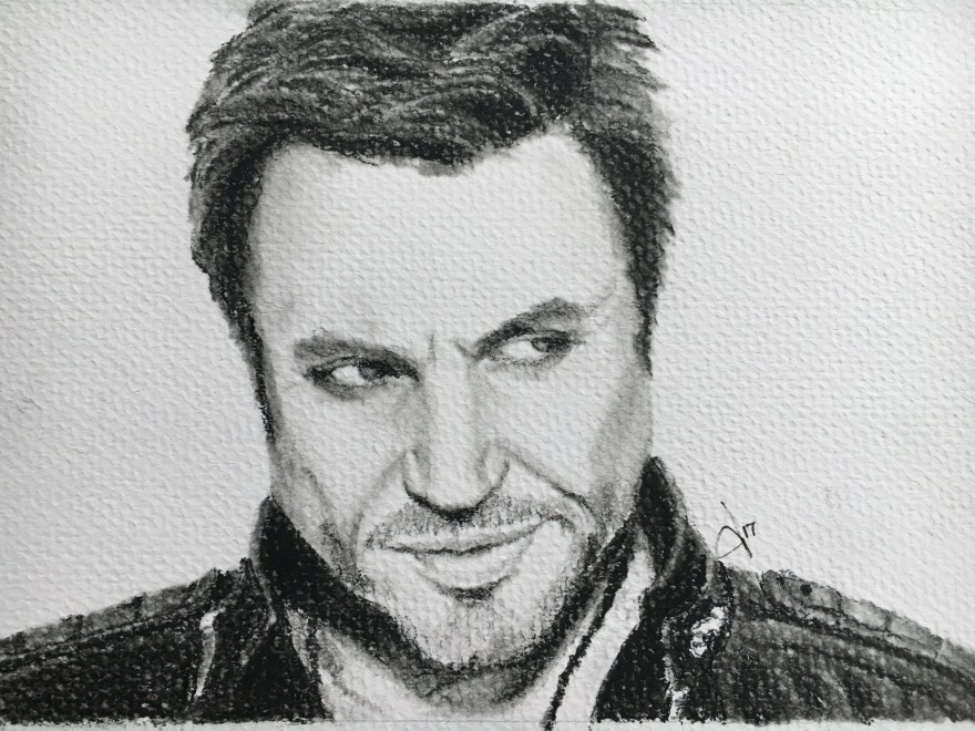 Simon Le Bon of Duran Duran Portrait Drawing, Pastel Pencil by Tracy Anderson