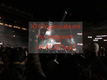 Title Photo: 10 U2 Organizations. Photo background of Audience at Santa Clara Concert, The Joshua Tree Tour, May 17, 2017