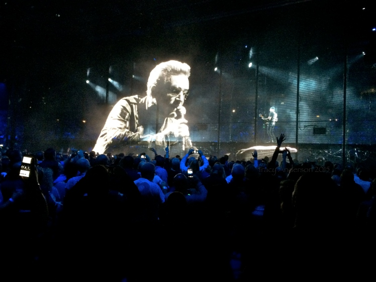 Edge in Bono's Hand Innocence and Experience Tour Belfast Nov 2015