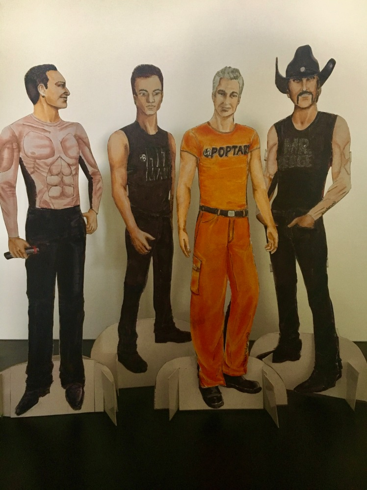 U2 Paperdolls in their Popmart Tour outfits. Markers. By Tracy Anderson
