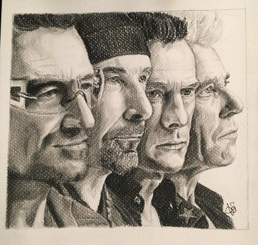 U2 Portrait Drawing, conte crayon. By Tracy Anderson