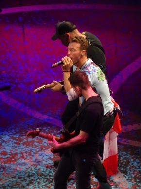 Chris Martin Guy Berryman and Jonny Buckland Coldplay Rogers Place Edmonton Sept 27 2017