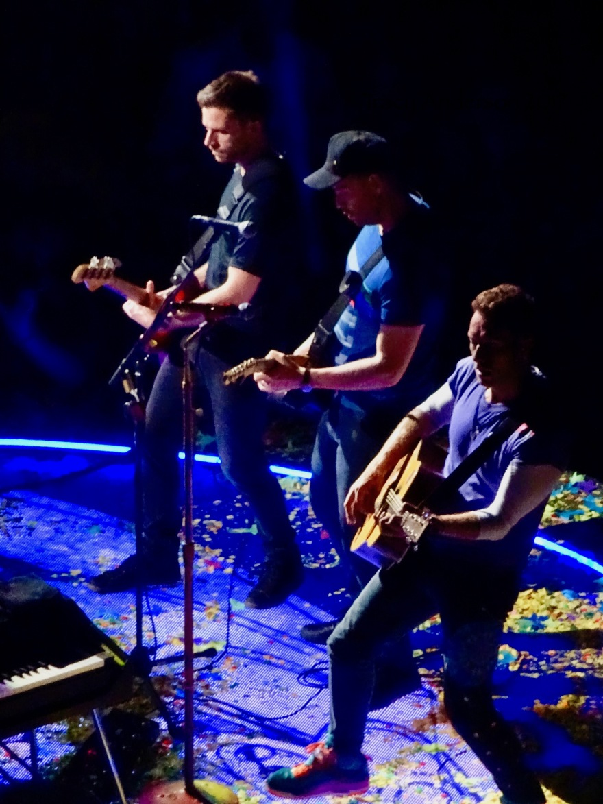 Chris Martin, Jonny Buckland and Guy Berryman of Coldplay, B Stage Rogers Place Edmonton September 27 2017