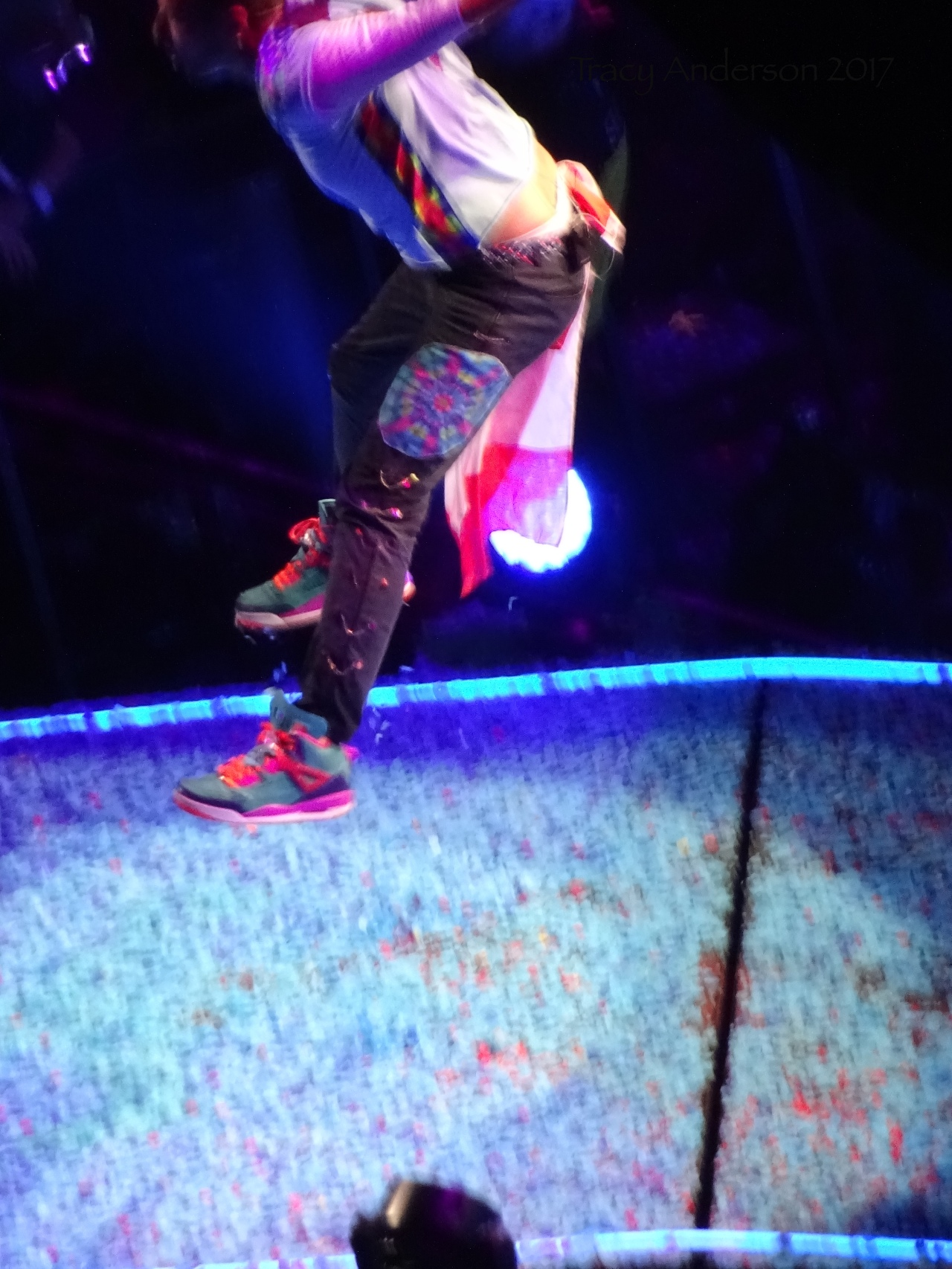 Chris Martin of Coldplay In Air Rogers Place Edmonton September 27 2017