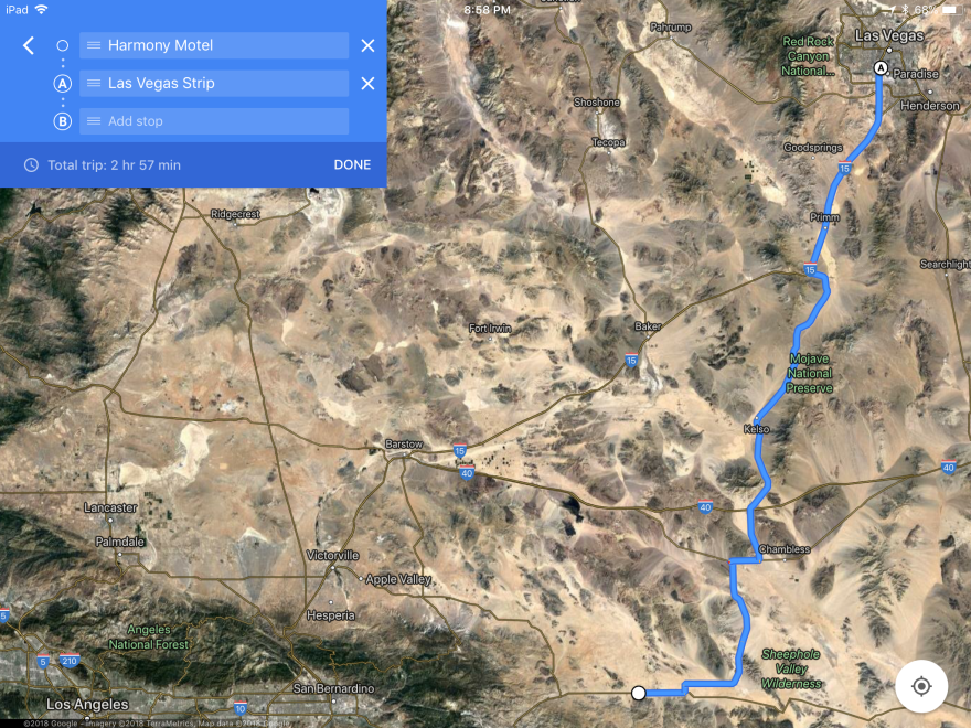 Google Maps Las Vegas to The Harmony Motel (U2 Site)