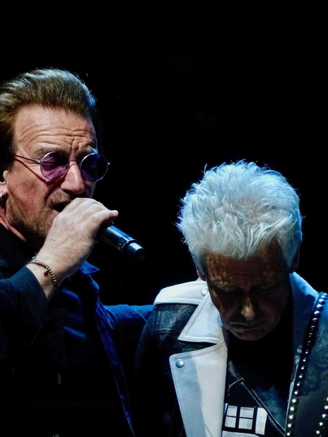 Bono and Adam Clayton close up U2 eiTour Las Vegas May 11 2018