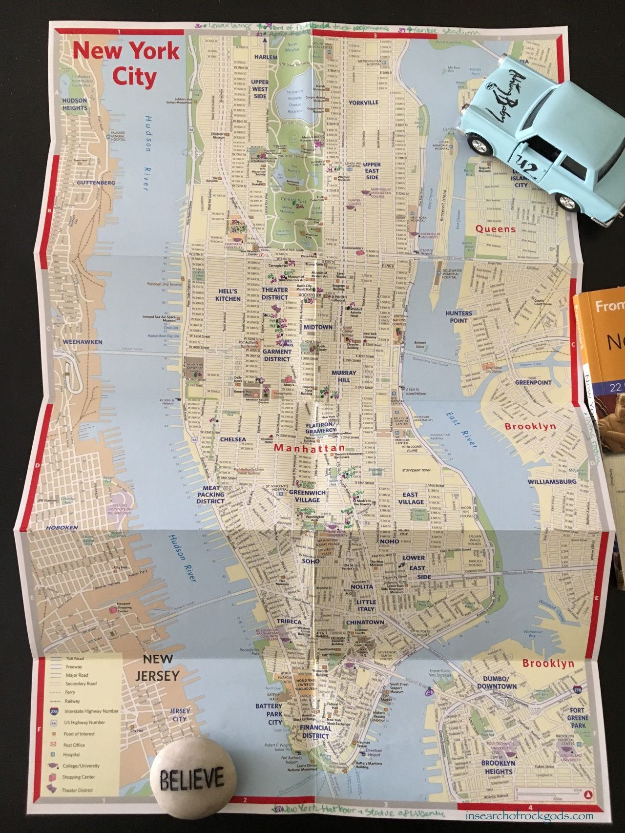 Map of U2 sites in New York City