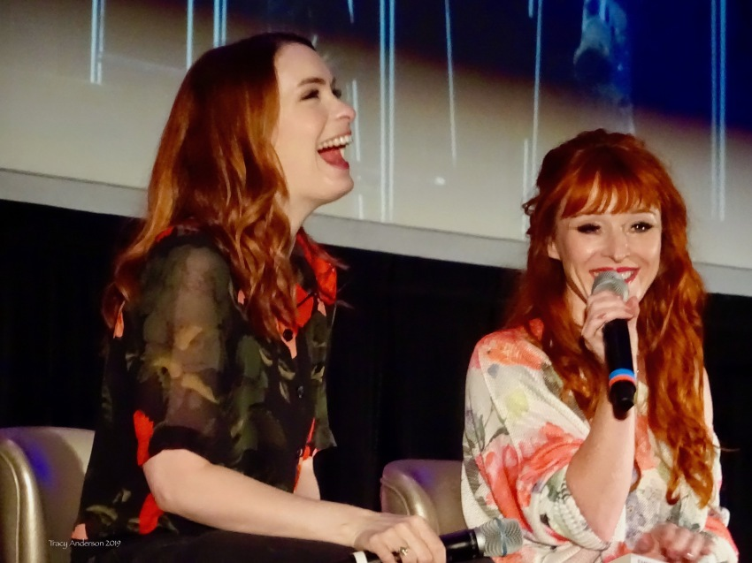 Felicia Day and Ruth Connell laugh SPNVan Con Aug 23-25 2019