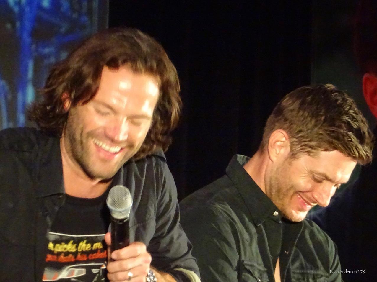 Jared Padalecki and Jensen Ackles blurry laugh SPNVan Con Aug 23-25 2019