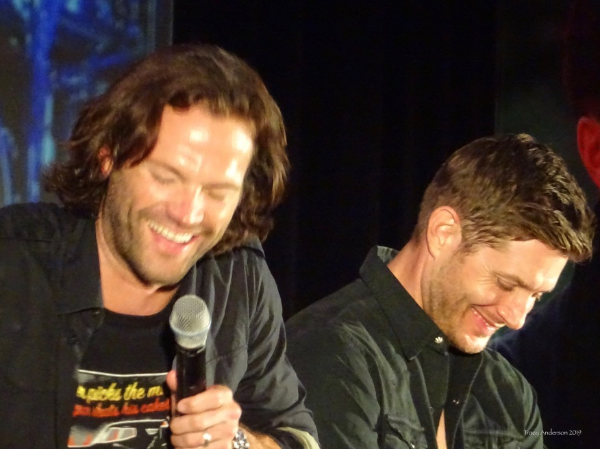 Jared Padalecki and Jensen Ackles blurry laugh SPNVan Con Aug 23-25 2019