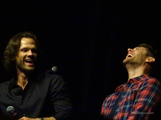 Jared Padalecki and Jensen Ackles laugh 2 SPNLV Mar 2020