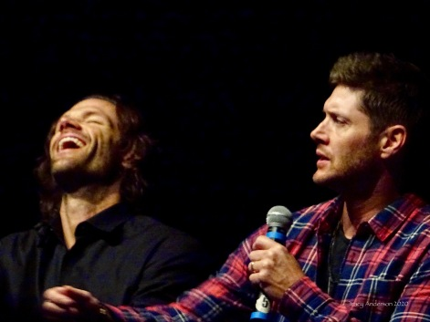 Jared Padalecki and Jensen Ackles laugh SPNLV Mar 2020