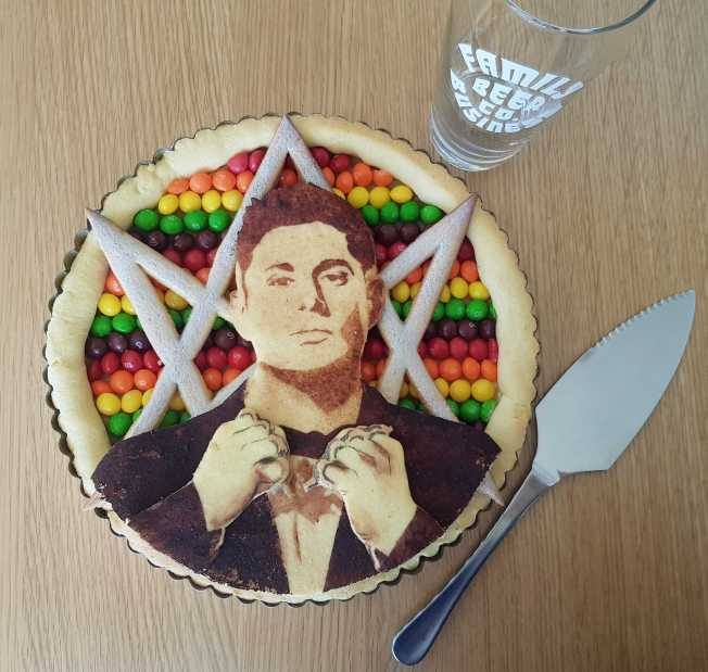 2019 item #70: Bake a Skittle pie with a portrait of Jensen. By Rachel Parker