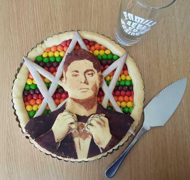 2019 item #70: Bake a Skittle pie with a portrait of Jensen. By Rachel Parker
