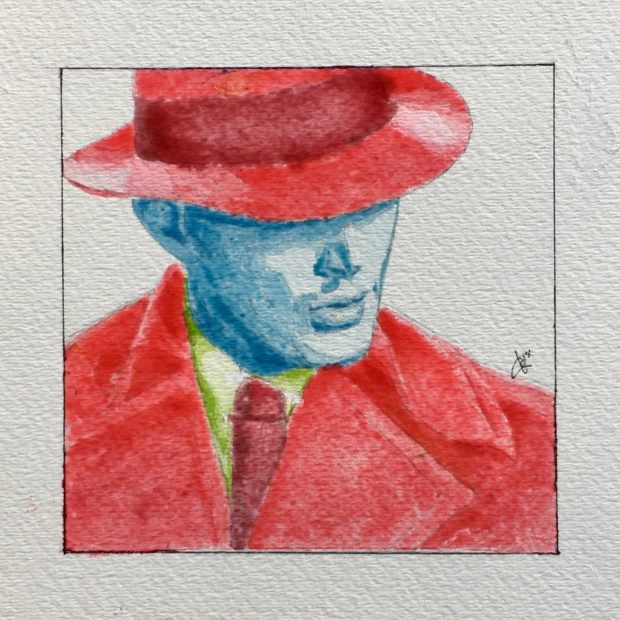 2018 item #55: Using only Skittles soaked in water for paint, create a portrait of Jensen Ackles on watercolour paper. By Tracy Anderson