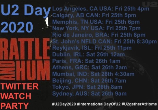 #U2Day20 Rattle and Hum Twitter Watch Party Timezones